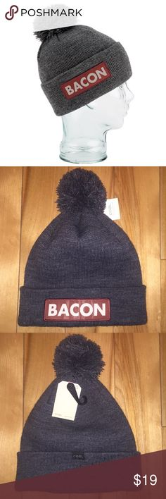 """Coal Bacon Beanie Discontinued """"""""Bacon"""" beanie from Coal Headwear w/ tags, never worn. The dark gray color compliments any outfit, and can also be elongated to hide the word """"Bacon"""" but still have the """"Coal"""" logo. I had a $100 Coal Headwear gift card and bought this hat but never wore it.  """"Bacon"""" almost looks like a play off the """"Supreme"""" logo but I bought this hat a few years ago before Supreme was even a thing.  If you want I'll include one of the """"Coal"""" guitar picks that came with some…"""