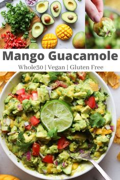 Fruity savory and oh so delicious this Mango Guacamole is a fun take on the traditional recipe! Best of all it's Vegan and Gluten Free! Mango Guacamole, Guacamole Recipe, Healthy Appetizers, Healthy Snacks, Healthy Eating, Healthy Cooking, Whole 30 Recipes, Whole Food Recipes, Cooking Recipes