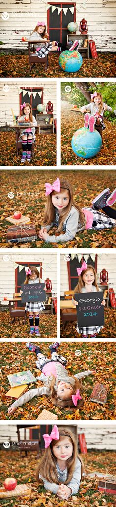 Unique children's photography...Vintage stylized school portraits with chalkboard and vintage school desk by Pink Antler Photography.