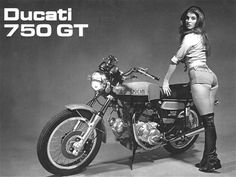 Hot pants and the Ducati 750GT, 1970s.  #motorcycle #vintage  (not about safety, but a Ducati is a Dducati.)