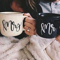 Mr & Mrs mugs. winter wedding, cozy mr and mrs mugs, coffee, wedding Engagement Pictures, Wedding Engagement, Our Wedding, Wedding Gifts, Dream Wedding, Wedding Mugs, Coffee Bar Wedding, Wedding Reception, Wedding Hands