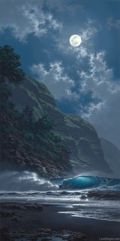 She dances to his pull as he shines on her splendor... Black Sand Magic - giclee by ©Roy Tabora http://taborastudio.com