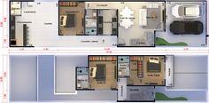Plano de casa con habitación de abajo. Plano para terreno 6x25
