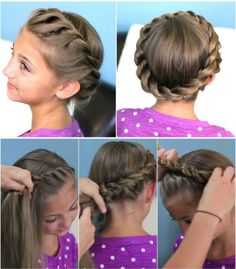 How To Do Cute Crown Rope Twist Hair Braid Updo Hairstyles | DIY Tag