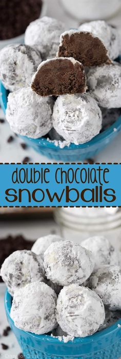 This Double Chocolate Snowball Cookies Recipe is so easy to make! The best holid… This Double Chocolate Snowball Cookies Recipe is so easy to make! The best holiday cookie, filled with rich chocolate, perfect for all year! Best Holiday Cookies, Xmas Cookies, Yummy Cookies, Holiday Treats, Shortbread Cookies, Christmas Treats, Holiday Parties, Christmas Candy, Xhristmas Cookies