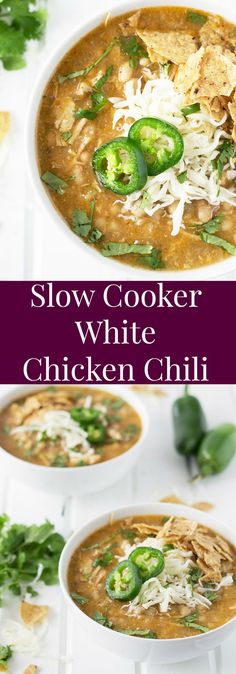 Slow Cooker White Chicken Chili- this comforting soup is made easy right in your slow cooker! | countrysidecravings.com