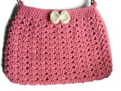 Crochet Pink and Cream Hobo Bag Fabric Lined Purse by jwhizcrochet Hobo Bag, Boho Shorts, Bows, Purses, Cream, Trending Outfits, Unique Jewelry, Handmade Gifts, Cute