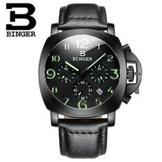 2017 New Arrival Binger Wrist Watches Men's Black Dial Stainless Steel Quartz Watch waterproof wristwatches For Man