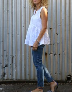 Tessuti Fabrics - The Lisa Dress pattern modified as top - white 100%  linen