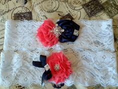 Coral and Navy Bridal Garter Set by BijouxBridalChicago on Etsy