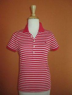39.59$  Watch here - http://vihhz.justgood.pw/vig/item.php?t=qnbott994 - New Ralph Lauren Womens Size M Poppy Red & White Stripe Slim Fit Golf Polo Shirt