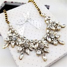 Vintage Crystal Flower water drop Necklace Square Chain Short Party Jewelry Cheap For Women XL-144