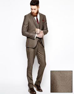 Image 1 of ASOS Slim Fit Brown Suit in Herringbone