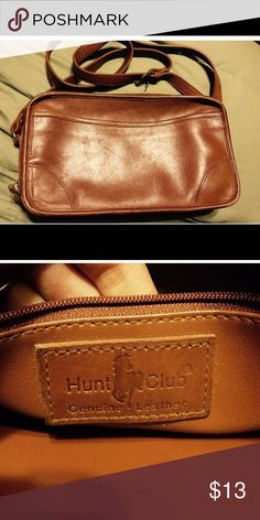 "Vintage leather bag Vintage genuine leather shoulder strap bag. Hunt Club brand, many compartments. H 6.25"" x W 11"" x D 3"". Strap drop 23"" adjustable. A true treasure and in excellent vintage condition. Hunt Club Bags Shoulder Bags"