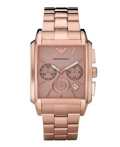 Emporio Armani Watch, Women's Chronograph Rose Gold Plated Stainless Steel Bracelet AR0322