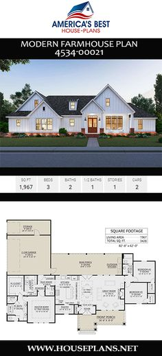 Plan offers a lovely single-story home design for years to come. Get acquainted with this sq. Modern Farmhouse complete with 3 bedrooms, 2 bathrooms, a mudroom, an open floor plan, and an outdoor kitchen. Design one floor Modern Farmhouse Plan House Plans One Story, Best House Plans, Dream House Plans, Small House Plans, Dream Houses, New Home Plans, Farm Houses, Home Design Plans, The Plan