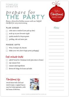 Preparing for the Christmas party - a handy checklist. Christmas List Printable, Christmas Checklist, Christmas Gift List, Christmas Planning, Christmas Countdown, Christmas Crafts, Christmas Things To Do, Christmas Makes, Christmas Holidays