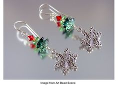 Perfect to wear for that special holiday party or just on a snowy Winter day, these Festive Snowflake Earrings are some of our favorite holiday bead earrings. This pair of DIY earrings will remind you of a winter wonderland. Homemade Christmas Crafts, Christmas Gifts, Handmade Christmas, Halloween Crafts, Holiday Crafts, Christmas Earrings, Earring Tutorial, Homemade Jewelry, Christmas Jewelry
