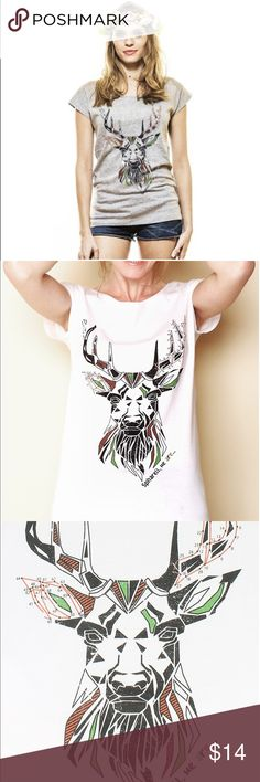 NWT Deer Graphic white t-shirt for women NWT Deer graphic white t-shirt for women. MINKPINK Tops Tees - Short Sleeve