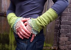 FREE SHIPPING Leaf, water and cloud - crocheted open work lacy wrist warmers cuffs. $40.00, via Etsy.