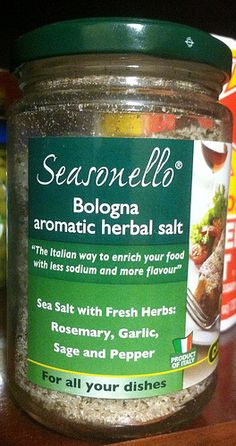"Seasonello.  You don't have to be a professional chef to get the flavors just right on your next meal.  Just use this herbal sea salt from Bologna to season and enrich your dishes.  The Mediterranean sea salt is mixed with rosemary, garlic, sage, and pepper to produce an aromatic and clean taste.  It's perfect for barbecue, like steak and chicken, but can also work wonders on fish, such as ""Branzino al Cartoccio."" Sea the recipe at www.dangelomarket.com/blog"