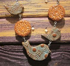Faux Ceramic Polymer Clay Necklace Nature Series Birds and Medallions