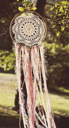 Beautiful Extra Large vintage inspired Dreamcatcher, pictured here in Pale Pink/white, Teal/White,Mauve/White, Cream/Coral/Grey and Dusty Pink/Cream/Grey. Add one of these mystical pieces to any room, especially a little babies or girls bedroom and watch them drift away to a peaceful sleep. These Dreamcatchers measure 45.5 cm diameter and approximately 110 cm in length from the top of the hoop. They are made from cane, a vintage doily (each one is different), coloured ribbons of...