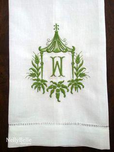 Monogrammed guest towel. Green pagoda monogram on linen/cotton guest towel. NellyBelle Designs