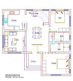 Colonial Style 4 Bedroom Home Plan in 1799 SqFt Suitable for 5 Cent Small Plot - Free Kerala Home Plans Single Floor House Design, House Roof Design, Bungalow House Design, Sims House Plans, Dream House Plans, The Plan, How To Plan, 30x50 House Plans, Two Storey House Plans