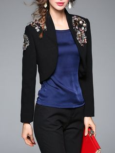 Black Long Sleeve Cotton-blend Open Front Cropped Jacket