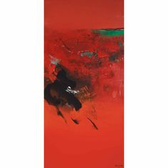 Lot 94 part of the N/A Auction at Doyle. Brazilian/ Japanese, Red Abstraction Signed Fukushima (lr) Acrylic on canvas 50 x 24 inches C Fukushima, Auction, Japanese, Artists, York, Tools, Abstract, Canvas, Red