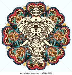 Greeting Beautiful card with Elephant. Frame of animal made in vector. Perfect cards, or for any other kind of design, birthday and other holiday.Seamless hand drawn map with Elephant. Elephant India, Elephant Head, Elephant Love, Indian Elephant Art, Elephant Tapestry, Elephant Design, Elefante Hindu, Mandala Canvas, Elephant Tattoos