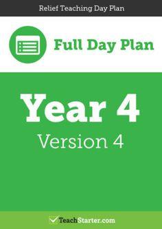 Relief Teaching Day Plan – Year 4 (Version 4)
