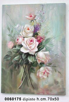 Quadro stampa rose fiori provenzale country shabby chic