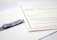 modelo 61: convite de casamento clássico em prata e branco, com laço channel - Galeria de Convites