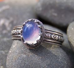 Avalon 6 x 8mm Smooth Oval Opal in Sterling by IndigoSilverStudio