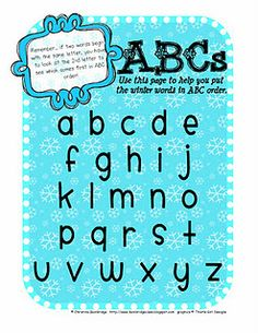 Snowy Day ABC Order Freebie! - Re-pinned by @PediaStaff – Please Visit http://ht.ly/63sNt for all our pediatric therapy pins