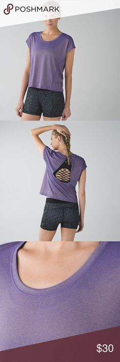 ✨FLASH SALE✨Lululemon Sweaty or Not Crop Tee Shimmery purple crop tee shirt. Only worn a few times. Cute back cutout which shows off your sports bra! Shipping comes with FREE LULULEMON SHOPPING BAG lululemon athletica Tops Tees - Short Sleeve