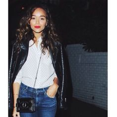 Ashley Madekwe Is Classic in Leather and Red Lips