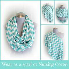 Chevron Infinity Nursing Scarf, Aqua and White Chevron Breastfeeding Jersey Loop Scarf on Etsy, $21.99