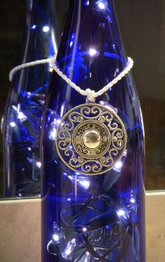 Blue Wine Bottle Lamp with Silver Medallion and by EcoArtbyNancy, $26.00