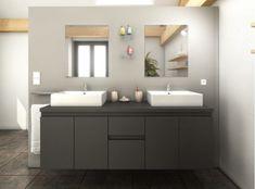 Meuble de salle de bain gris mat 2 vasques Sana Ikea 2018, Bathroom Furniture, Amazing Bathrooms, Double Vanity, Kitchen Design, New Homes, Design Inspiration, Mirror, Home Decor