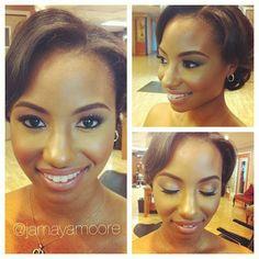 Black brides, makeup for brown skin, African american brides, African american bridal makeup www.JamayaMoore.com