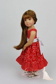Red Parisienne dress for Kidz'n'Cats dolls by SwishAndSwirl