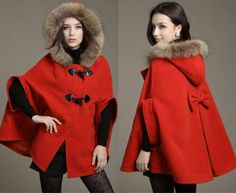 Very cute Little Red Riding Hood inspired, jacket/poncho w/fur hood
