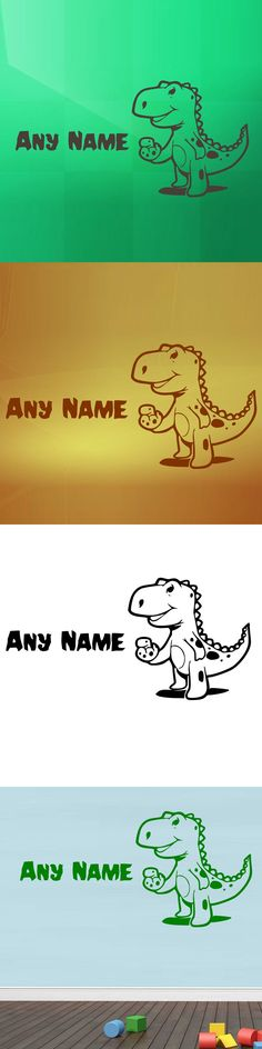 Cute Dinosaur Wall Decals Animals Home Decor Vinyl Art Wall Stickers Home Decor Kids Room Customized Name $10.94
