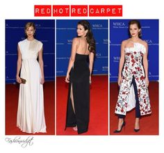 """""""Red Hot Red Carpet: 2016 White House Correspondents' Dinner"""" by fashionwidget on Polyvore featuring EmmaWatson, NinaDobrev and karliekloss"""