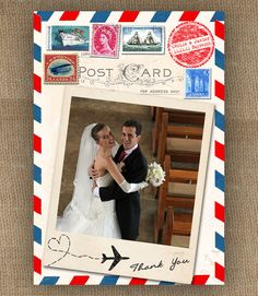 Airmail Love Story Wedding Vintage Thank You Card
