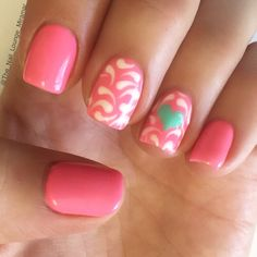 Hot pink nail art design