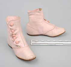 Wisconsin Historical Museum Online Collections Shoes, girl's, light pink kid leather, button-up sides with scallop edged flap, 1870-1879